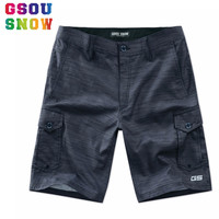 GSOU SNOW Brand Beach Board Shorts Men Quick Dry Swimwear Soild Summer Bermudas Swimming Surfing Diving Motorboat Shorts