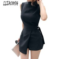 High Quality 2018 Summer Office High Waist Jumpsuit Romper Black Fashion O Neck Sleeveless Playsuits