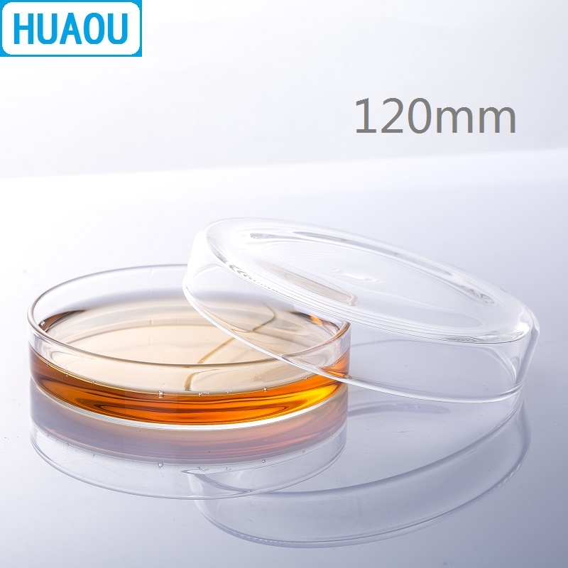 HUAOU 120mm Petri Bacterial Culture Dish Borosilicate 3.3 Glass Laboratory Chemistry Equipment