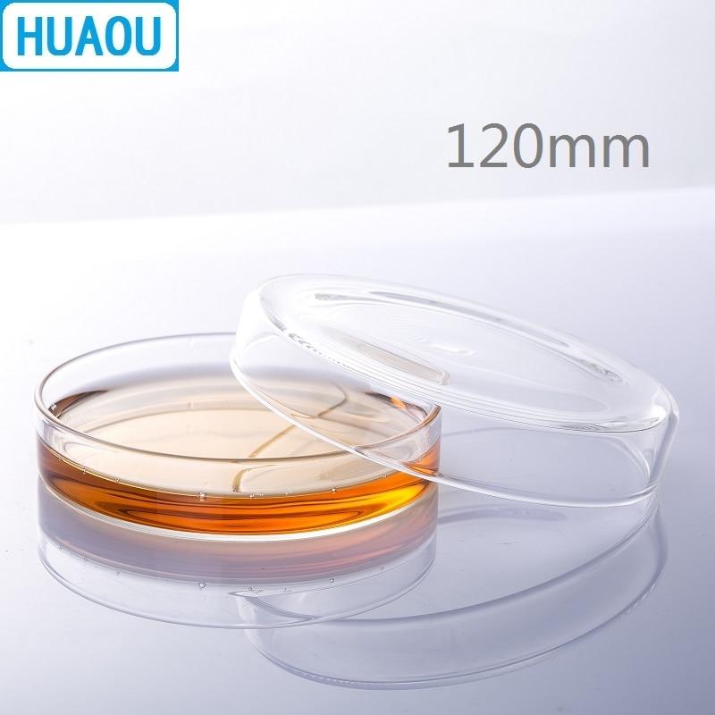 HUAOU 120mm Petri Bacterial Culture Dish Borosilicate 3.3 Glass Laboratory Chemistry Equipment
