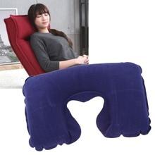 Portable Inflatable U-Shaped Flocked Pillow Neck Rest Car Travel Comfort Headrest Car Flight Travel Soft Nursing Cushion