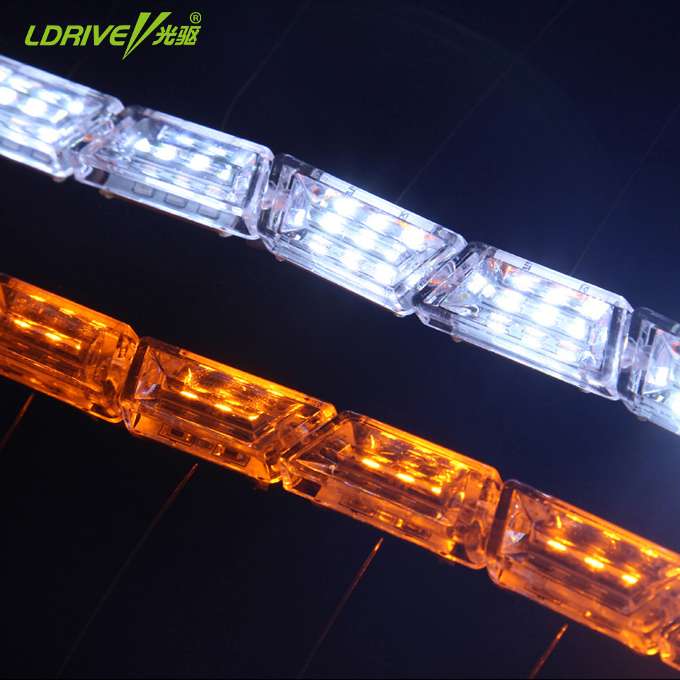 Universal Car LED Crystal Telescopic Mengalir Air Cahaya Putih - Lampu mobil - Foto 6