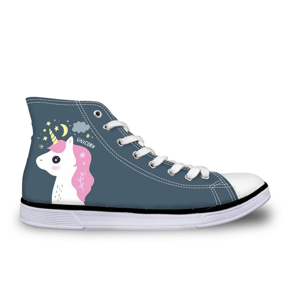 Womens Designer Sneakers Night Unicorn Pattern Casual Breathable Shoes Flats Teen Girls Cute Animals High-top Shoes