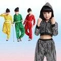 Muchachos de las muchachas de Lentejuelas de Baile Jazz Hip Hop Danza Traje Competencia Kid Pantalones Desgaste de la Danza Ropa de Baile Trajes Con Capucha Camisa de La Tapa