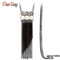 DuoTang Vintage Stainless Steel Long Tassel Geometric Pendant New Elegant Pearl CZ Chains Necklace Women Jewelry