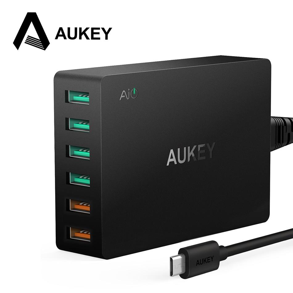 60 Watt Usb-ladegerät, AUKEY Quick Charge 3,0 6-Port USB Handy Desktop Ladegerät für Samsung iPhone 7/X/8/Plus Xiaomi redmi 5 etc