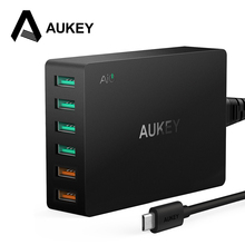 60W USB Charger,AUKEY Quick Charge 3.0 6-Port USB Mobile Phone Desktop Charger for Samsung iPhone 7/X/8/Plus Xiaomi redmi 5 etc
