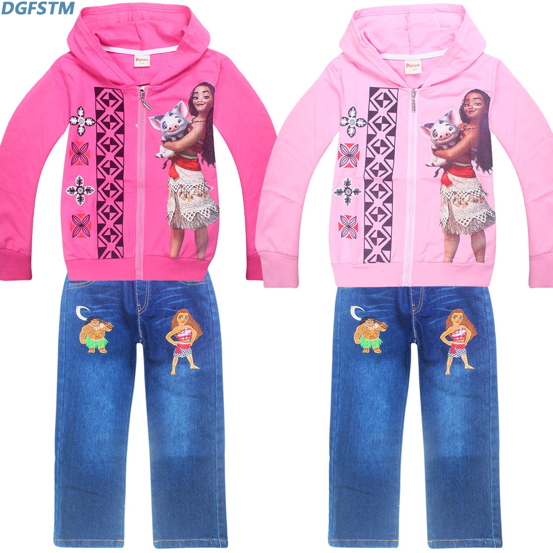 Spring Autumn Moana Vianan Children Sets Sweater Suit Trousers Long Sleeved Zipper Cardigan Hoodies+jeans Pant Clothes for Girls children boys spring two suit children in 2016 two sets of new long sleeved sweater leisure tide