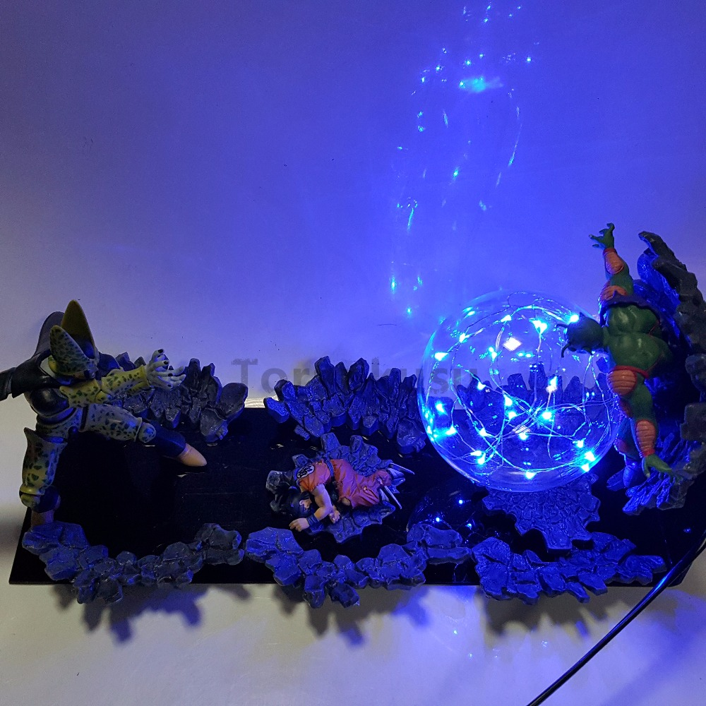 Dragon Ball Z Cell VS Yamcha Piccolo Led Light Action Figures Toys Anime Dragon Ball Super Cell Yamcha Piccolo Figurine Toy DBZ 1