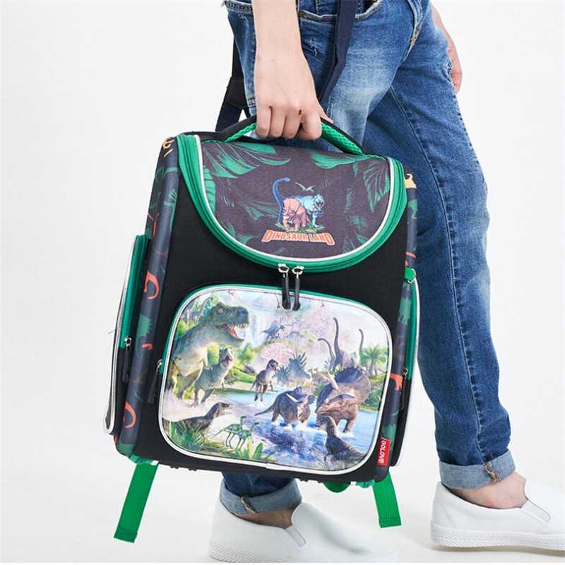 GOLOVE 3D Динозавр Печать школьные сумки для мальчиков мультфильм животных рюкзак дети ортопедический школьный портфель сложенный нейлоновый рюкзак Infantil