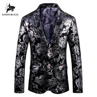 Stylish Silver Tulips Pattern Casual Blazer Men Suit Jacket British Gentleman Wedding Grooms Slim Fit Fashion Coat Outfit