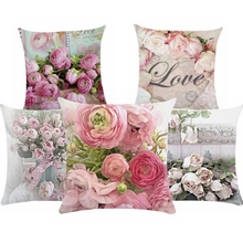цены Pink Flower Nordic Cushion Cover Free Shipping Throw Pillow Cover Polyester Cushion Case Sofa Bed Decorative Pillow