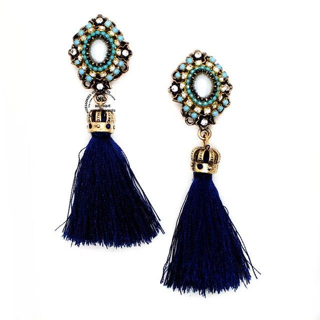 2018 Brand new fashion crown long tassel earring crystal dangle earrings for women pendientes jewelry bijoux wholesales