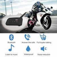 New Fodsports 2 Pcs V6 Pro Motorcycle Helmet Headset Bluetooth Intercom 6 Riders 1200M Wireless Intercomunicador