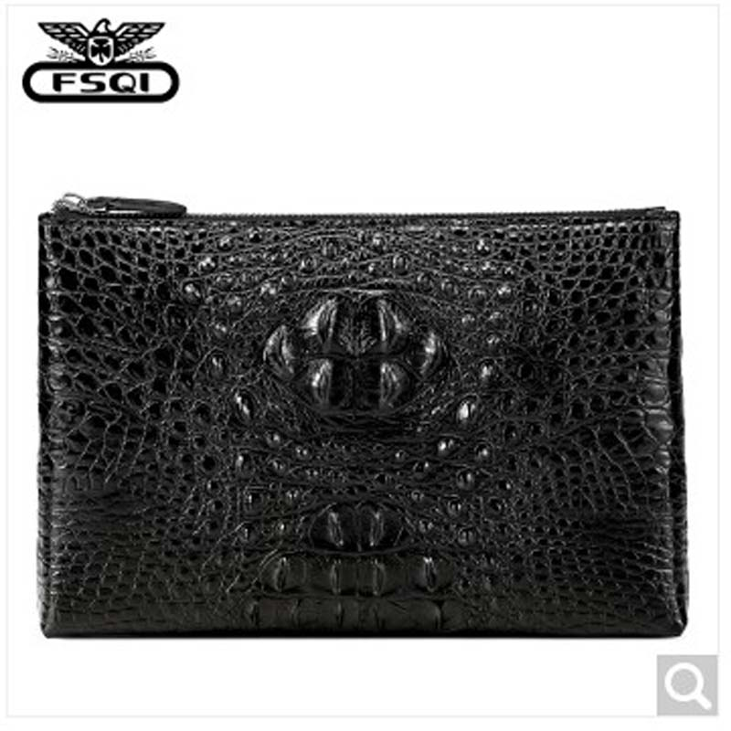 fasiqi Crocodile man clutc bag leather men bag 2018 new personal bag multifunctional business briefcase Leisure bulk envelop