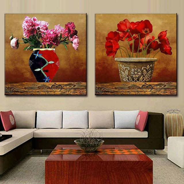 2 Pcs/set Framed Pink Flower Painting Printed On Canvas Retro The ...