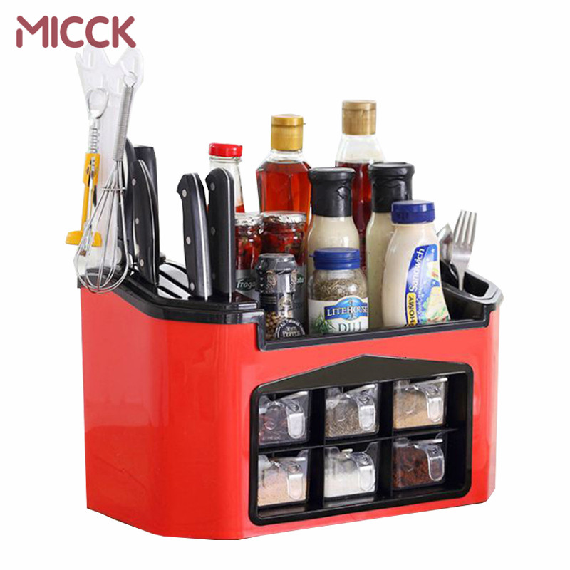 MICCK Seasoning Jar Storage Home Knife/Fork Spice Rack Plastic Kitchen Organizer Shelf For Spices Supplies Accessorie