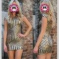 Popular Women Summer Dress 2016 Short Sleeve Sequined Dress Golden Sliver Bodycon Dresses Sexy Club Vestidos De Festa Dress