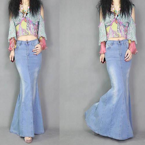Fashion Spring Autumn Women's Cool Fish Tail Skirts Casual High Waist Long Maxi Skirts Female Blue Jeans Skirt Denim Long Skirts