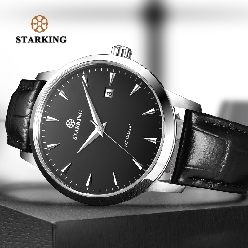 1ef4458125672 STARKING Mens Relógio Automático Safira Assistir Todo O Aço Inoxidável  Simples do Negócio Relógio Masculino xfcs Marca de Luxo Vestido de Relógio  de Pulso