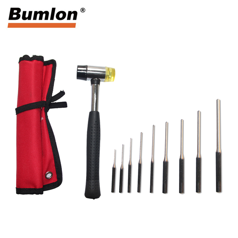 9Pcs Professional Roll Pin Punch Set Gun Bolt Catch Roll Up Case Tool Kit With Double-Faced Soft Rubber Mallet Hammer RL37-0096