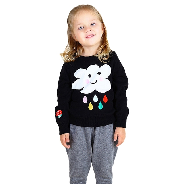 2016 INS Hot Baby Sweaters Cute Rain Cloud Pullovers Boys Girls Winter Clothing Black Dark Blue Knitted Pullovers 12M-5Y GW61