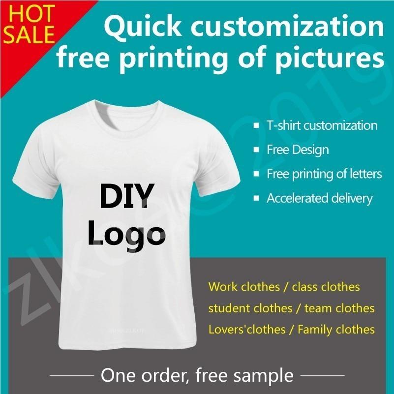 DIY Tshirts Men Women's T Shirts Customized Tshirts Female Print Logo Your Own Design High Quality White Customized T-shirts