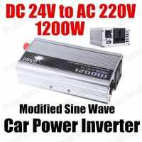 Изменение синусоидальный трансформатор напряжения 1200 Вт грузовик лодка USB DC 24 В в переменное 220 В инвертер конвертер зарядное устройство