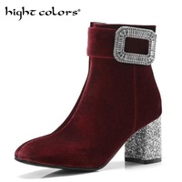 Rhinestone Sequins Thick With High Heel Boots Women's Round Head Suede Side Zipper Martin Boots For Women Black Wine Red Size 43