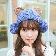 NEW Kawaii Autumn winter Bear Rabbit Cat Ear hat knitting wool Bomber Hats for ladies earmuffs Lindy Fast transport
