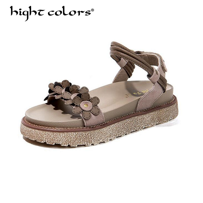 Gladiator Sandals Genuine Leather Summer Women Shoes Flower Platform Rome Shoes 2018 Summer New Large Size 40 Female Shoes phyanic 2017 gladiator sandals gold silver shoes woman summer platform wedges glitters creepers casual women shoes phy3323