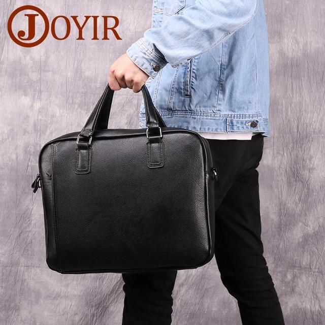 JOYIR Genuine Leather Men's Briefcase Laptop Document Handbag Messenger Shoulder Bag 15.6