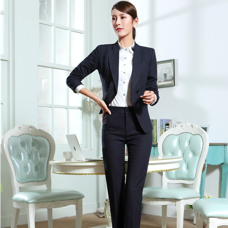 New Autumn Winter Slim Fashion Formal Pantsuits With Jackets And Pants For Business Women Ladies Blazers Outfits Plus Size