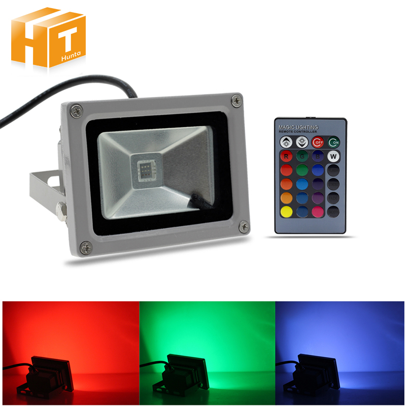 Waterproof IP67 LED Floodlight RGB 10W AC85-265V Outdoor Flood Lighting Projecteur Exterieur With 24Key Remote