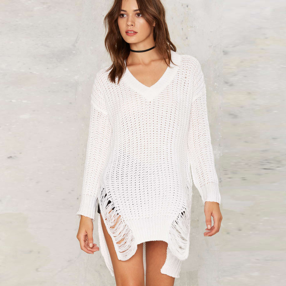 White oversized side split V neck high low sweaters women ...