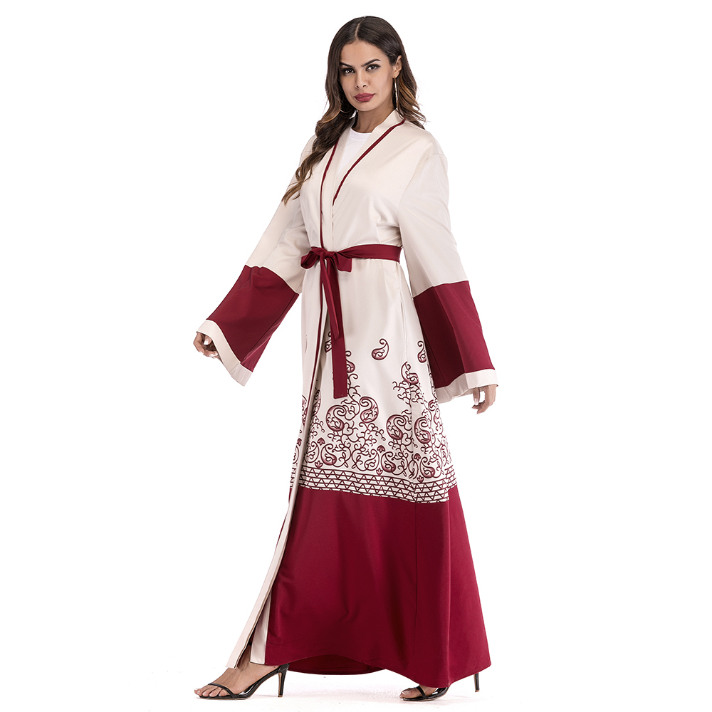 298a6f81f90 Muslim Embroider Flowers Abaya Maxi Women Dress Cardigan Tunic Long Robe  Gowns Jubah Kimono Ramadan Arab