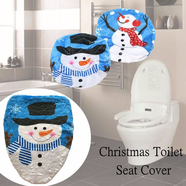 toilet seat cover black hat branch snowman bathroom set christmas