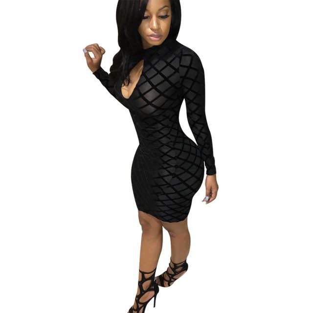 Plus Size Women Mesh Lattice Bodycon Dress Black Grid Print Long ...