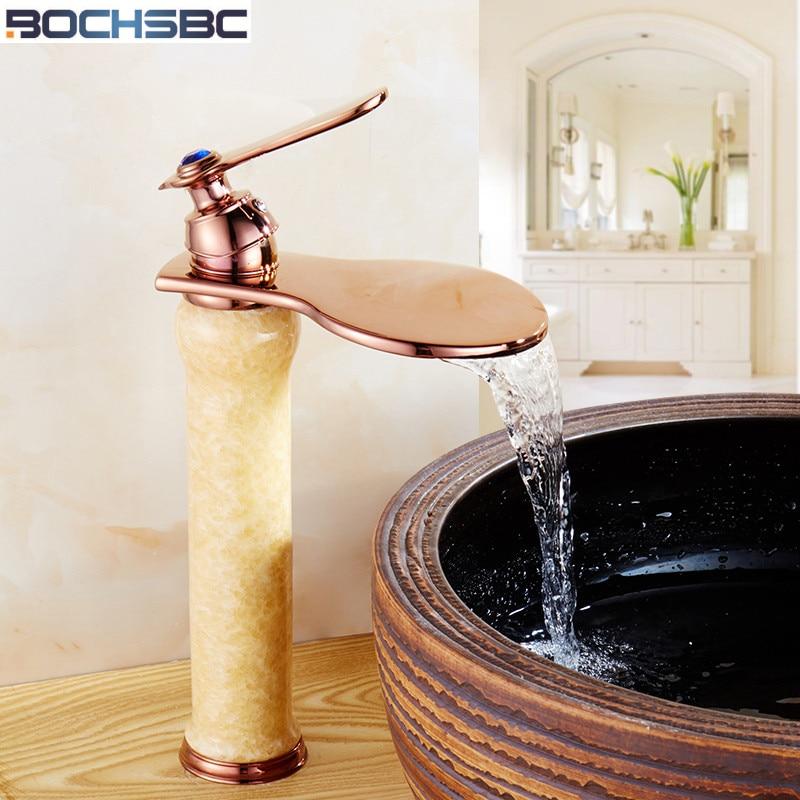 ФОТО BOCHSBC European Style Bathroom Sink Basin Faucet Deck Mount Gold Finish Washing Basin Mixer Jade Waterfall Bathroom Faucet