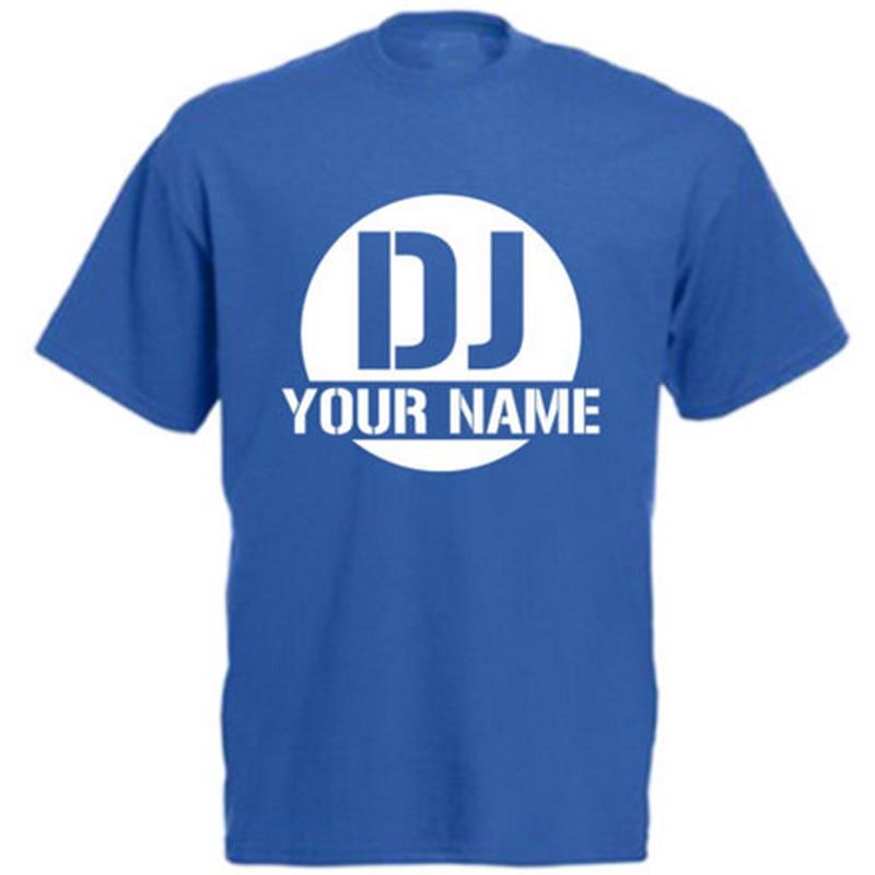 66cf4963d7 Personalizada camiseta dj su nombre logotipo impreso para mujer para hombre  casual Tops Camisetas Tees Camisas DIY nombres Camiseta de manga corta  divertida ...