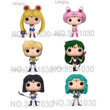 Official Sailor Moon Mercury Mars Jupiter 12cm Cartoom Anime Action Figure pop horse hand-done doll Small Lady studio ghibli