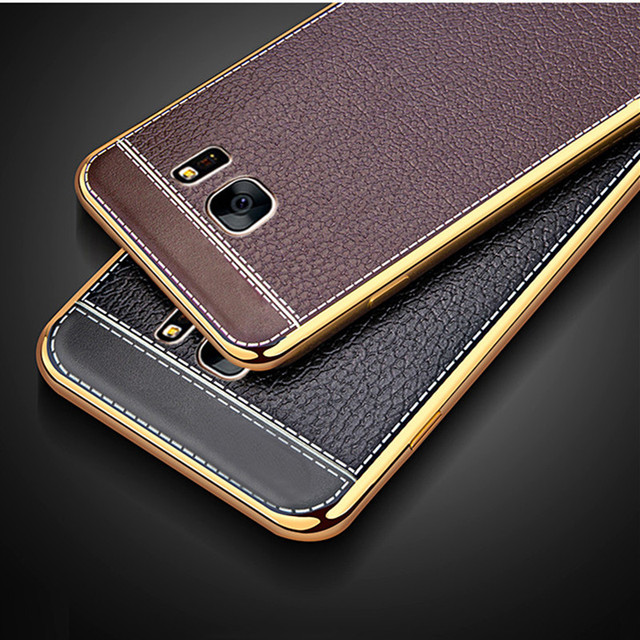 Etui en silicone Souple Motif En Cuir de luxe Pour Samsung Galaxy S7 G9300  S7 8d3edbb13784