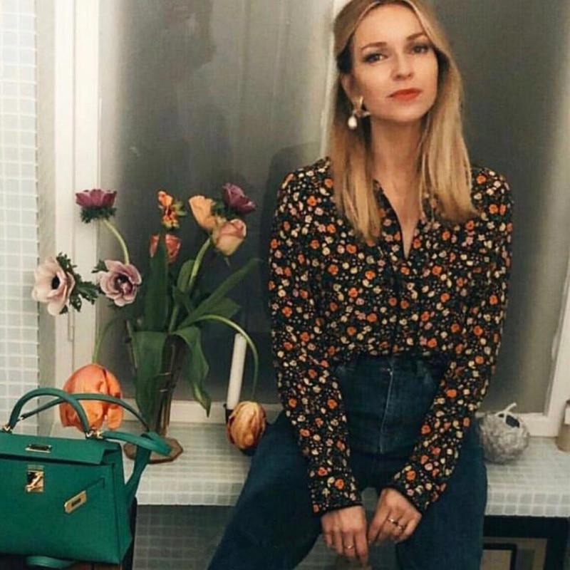 100% Silk Women Floral Print Long Sleeve Front Pocket Sweet Fresh Soft Light Blouse Shirt