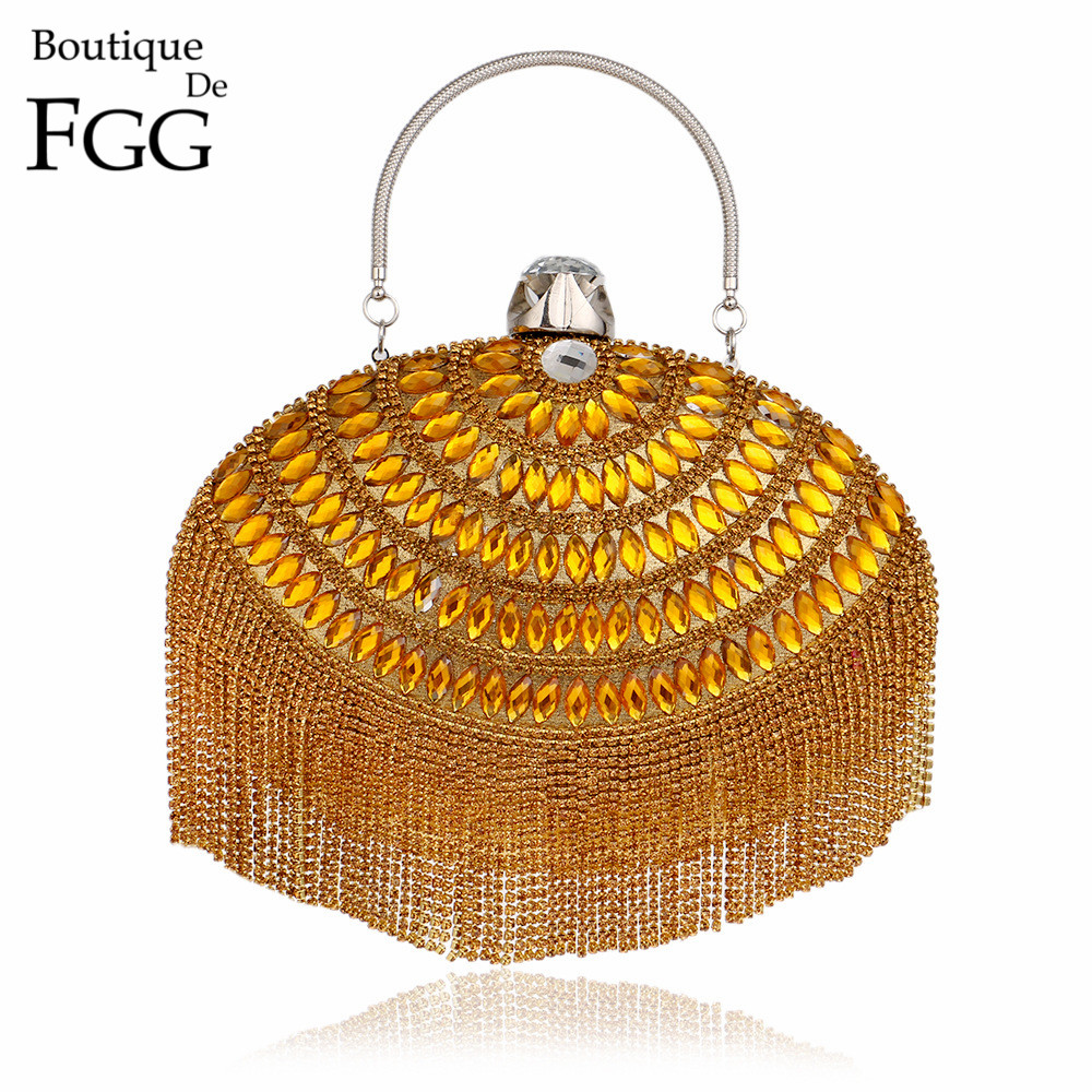ФОТО Socialite Crystal Tassel Bridal Gold Purse Wedding Clutch Bag Women Fashion Shoulder Totes Bag Evening Clutches Handbags Purse