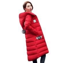 Женская куртка с коттоновой подкладкой 2017 новые зимние Утепленные Длинные Slim Down Parka высокое качество большие размеры с капюшоном Женский Пальто kl0627
