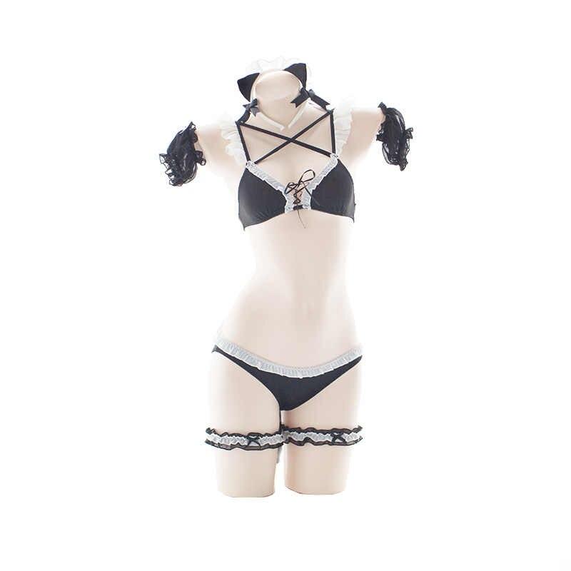 Lolita Coda di Gatto Del Bikini Del Reggiseno Panty Set Bella Cosplay Del Fumetto di Kawaii Sexy Delle Donne Della Biancheria Wristband Top Mutandine e boxer Gamba Anello Copricapi