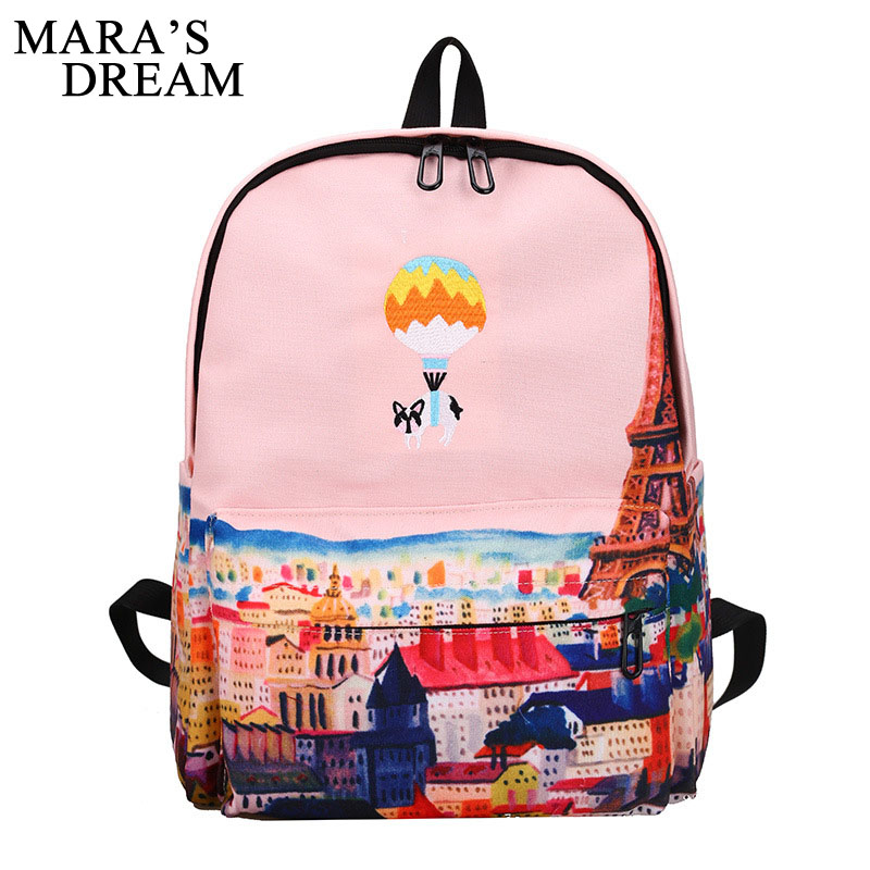 Mara's Dream Women Backpack For Teenage Girls School Backpack Bag Animal Printing Canvas Female Backpacks For College Students cute candy printing school bookbags for girls college students illustration backpack childrens 3d animal back pack for teenager