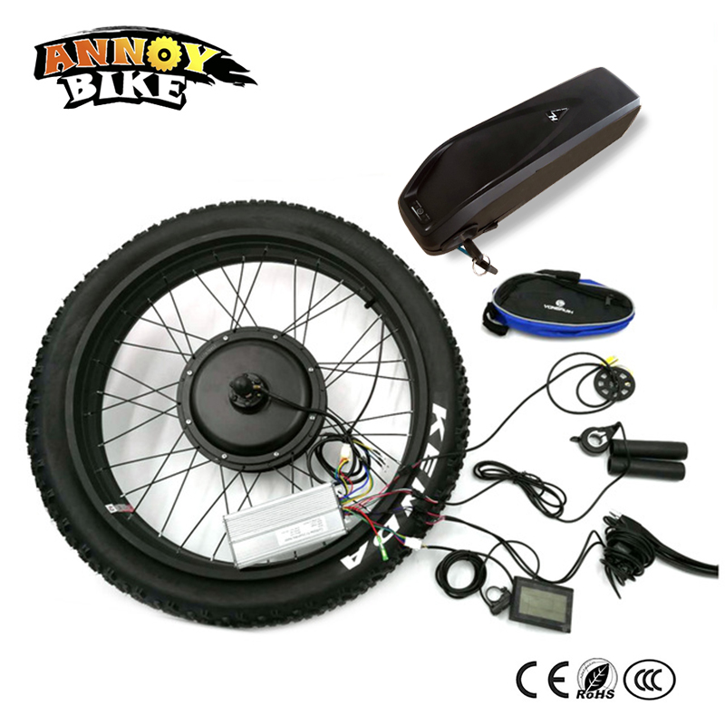 Snow Bike Rear Drive 24 26 4.0 Fat 48v 1500w Bicicleta Electrica Motor Electric Fat With Battery Bike Conversion Kit 4.0 Tyre