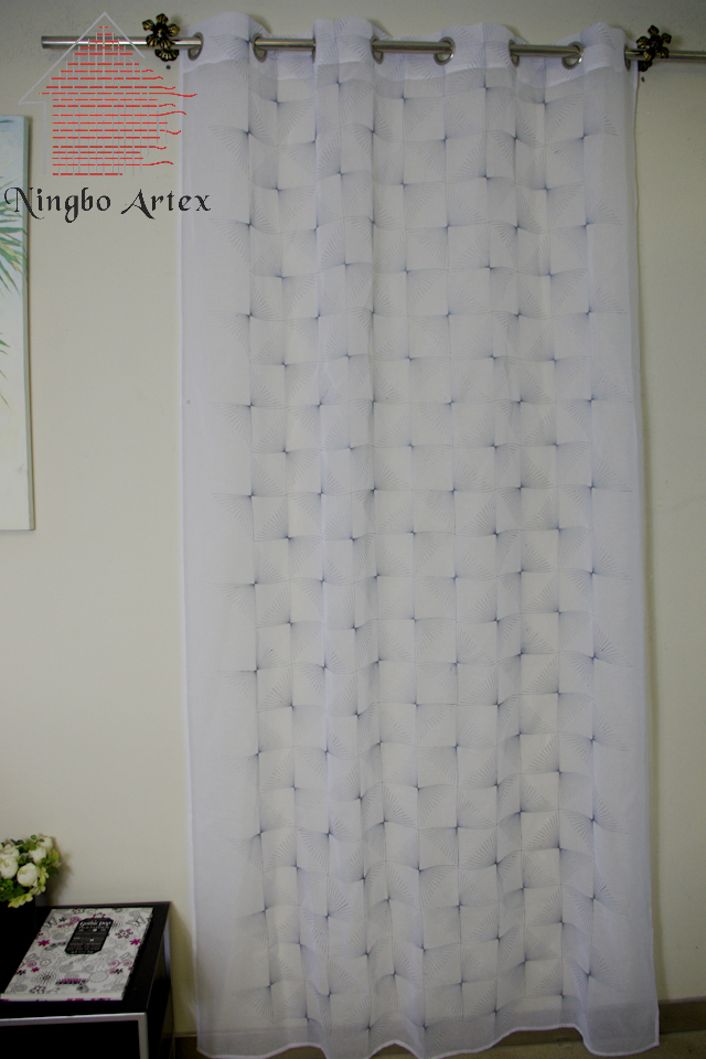 2017 Spring White Brief Tulle Curtains Chiffon Color Geometric Embroidered  140x240cm High Quality Cheap Cortinas Promotions