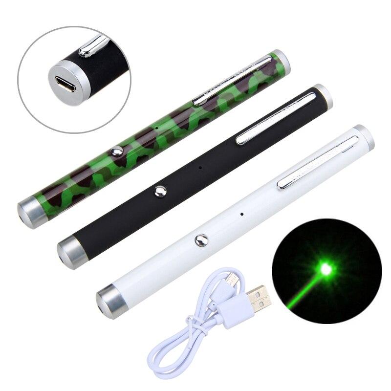 Militaire 532nm Vert Laser Stylo Lumière Chasse Vert Dot USB Rechargeable 5 mW Faisceau Lazer Pointeur Stylo avec Batterie Intégrée
